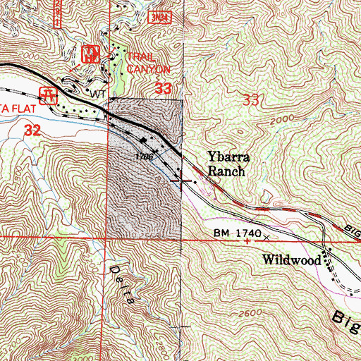 Topographic Map of Ybarra Ranch, CA