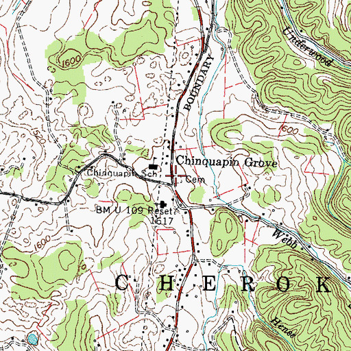 Topographic Map of Chinquapin Grove Baptist Church Cemetery, TN