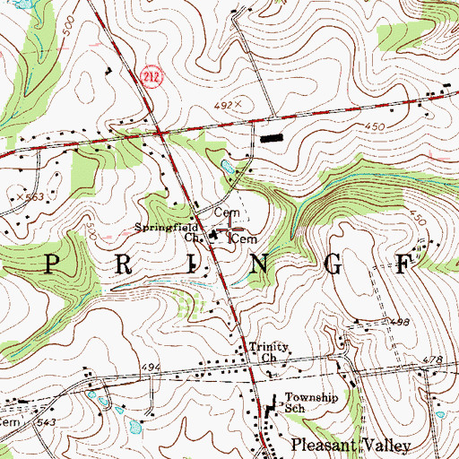 Topographic Map of Trinity Lutheran Cemetery, PA