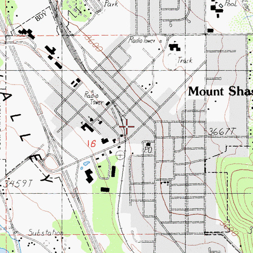 Topographic Map of Mount Shasta Police Department, CA