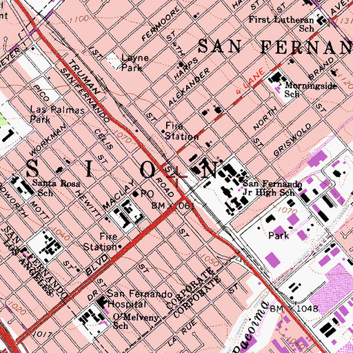 Topographic Map of San Fernando Police Department, CA