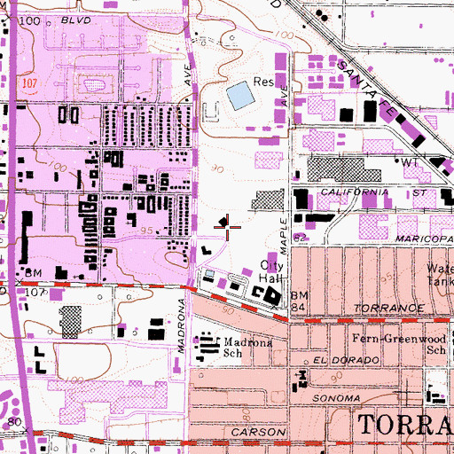 Topographic Map of Torrance Police Department, CA