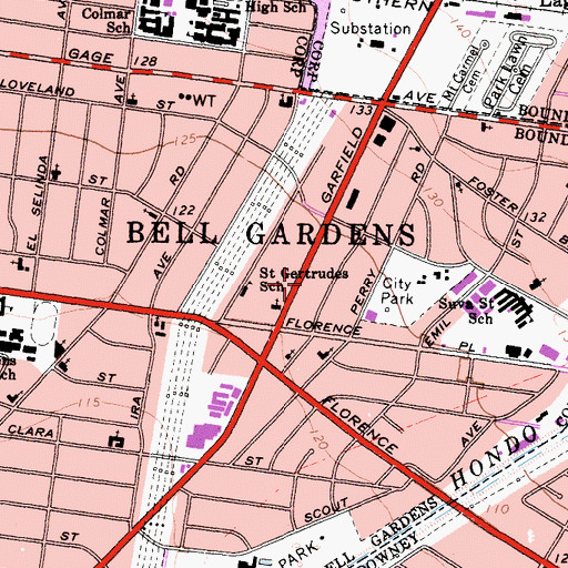 Topographic Map of Bell Gardens City Police Department, CA