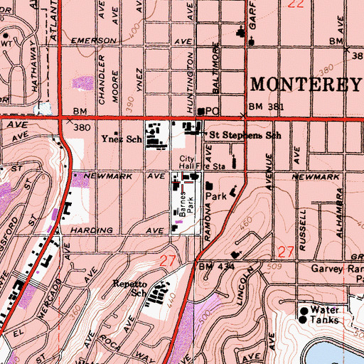 Topographic Map of Monterey Park Police Department, CA