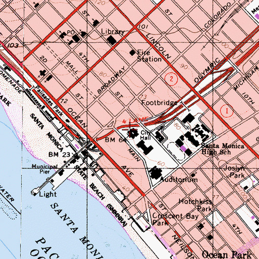 Topographic Map of Santa Monica Police Department, CA