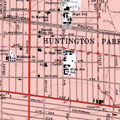 Topographic Map of Huntington Park Police Department, CA