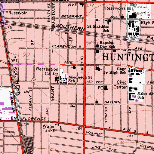Topographic Map of Huntington Park Police Department Downtown Enforcement Unit Substation, CA