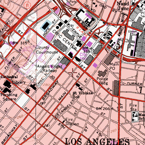 Topographic Map of Los Angeles Police Department - Headquarters, CA