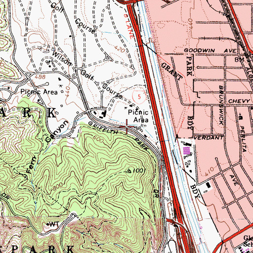 Topographic Map of Los Angeles Office of Public Safety Police - Griffith Park Substation, CA