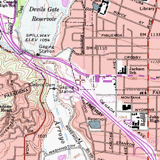 Topographic Map of California Highway Patrol - Altadena, CA