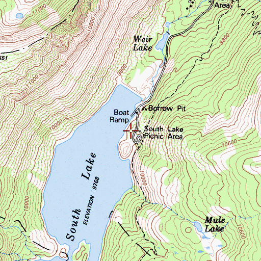 Topographic Map of South Lake Picnic Area, CA