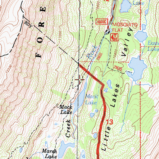 Topographic Map of Mosquito Flat Campground, CA