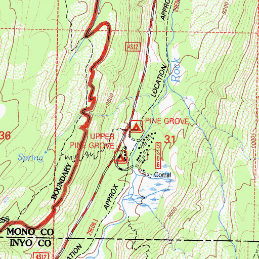 Topographic Map of Pine Grove Campground, CA