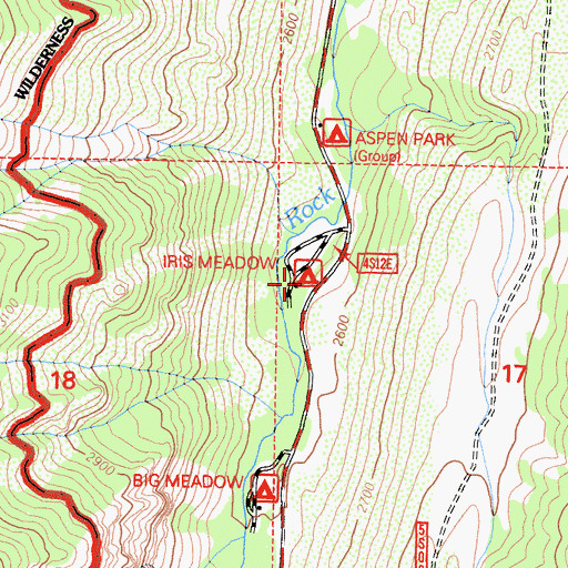 Topographic Map of Iris Meadow Campground, CA