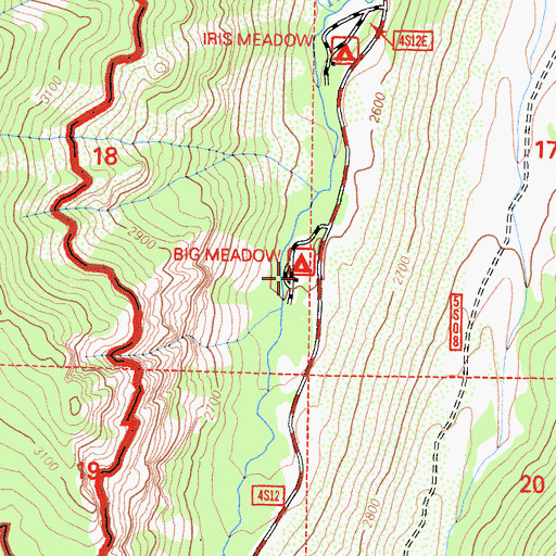 Topographic Map of Big Meadow Campground, CA