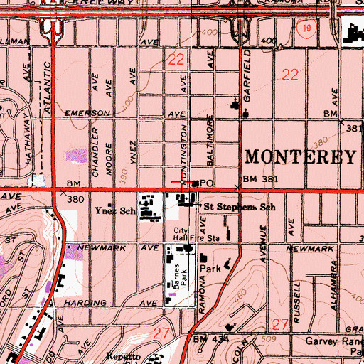 Topographic Map of Monterey Park Post Office, CA