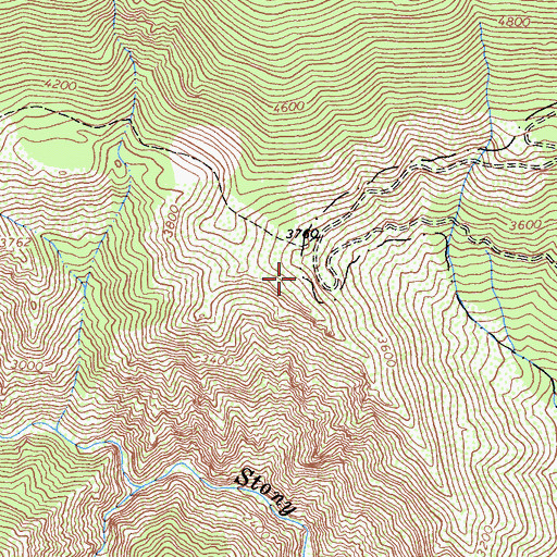 Topographic Map of Bearwallow Trailhead Parking, CA