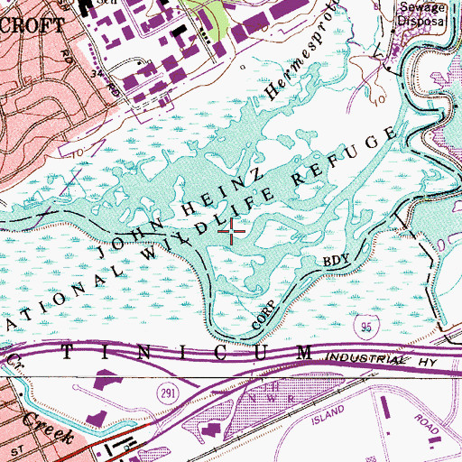 Topographic Map of John Heinz National Wildlife Refuge at Tinicum, PA