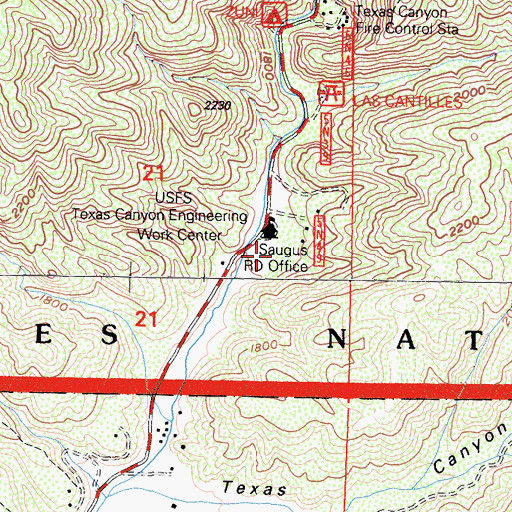 Topographic Map of Savgus District Ranger Office, CA