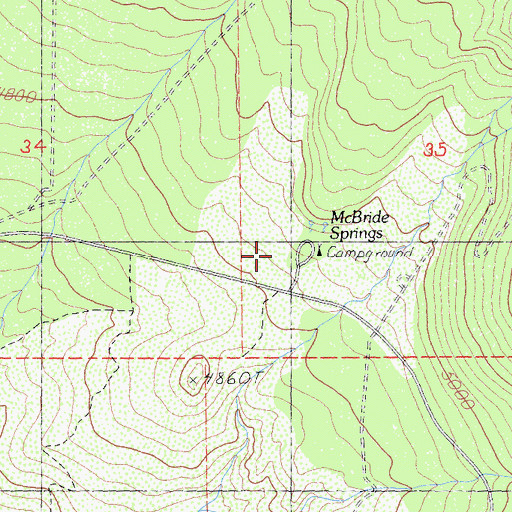 Topographic Map of McBride Springs Campground, CA