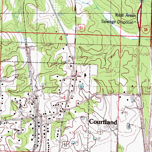 Topographic Map of Courtland Post Office, MS