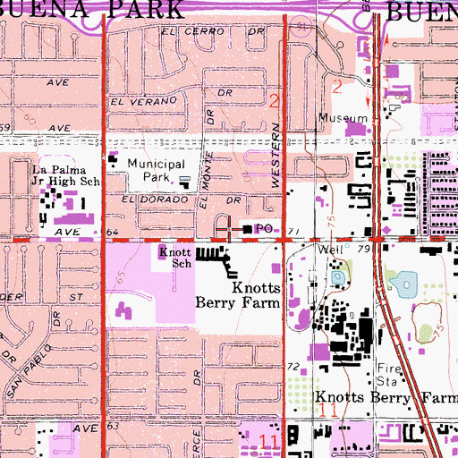 Topographic Map of Buena Park Post Office, CA