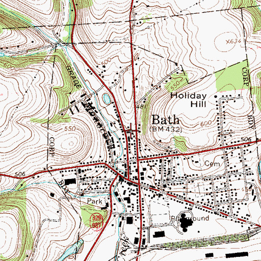 Topographic Map of Bath Post Office, PA