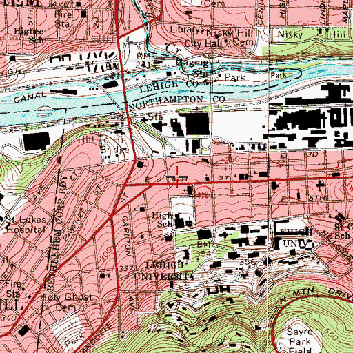 Topographic Map of Southside Post Office, PA