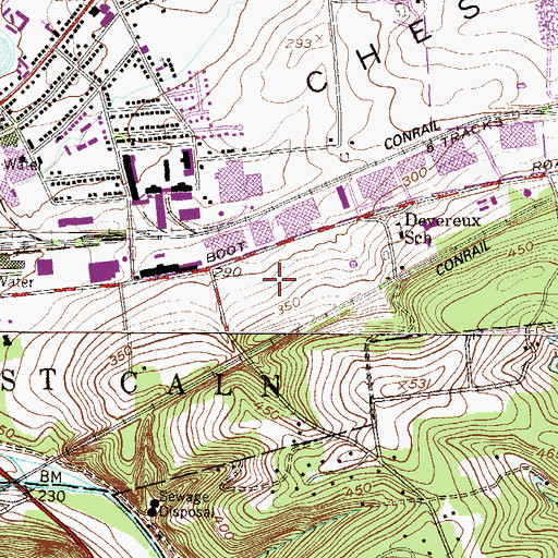 Topographic Map of Downingtown Post Office, PA