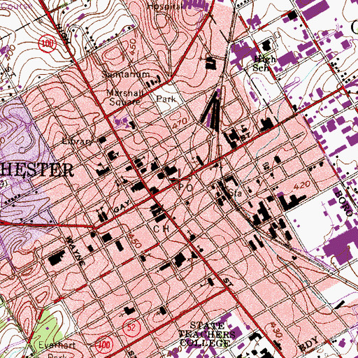 Topographic Map of Gay Street Post Office, PA