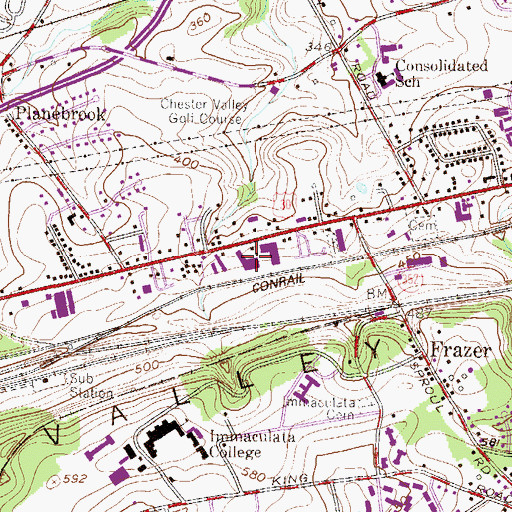 Topographic Map of Frazer Post Office, PA