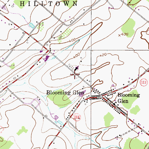 Topographic Map of Blooming Glen Mennonite Meetinghouse Graveyard, PA