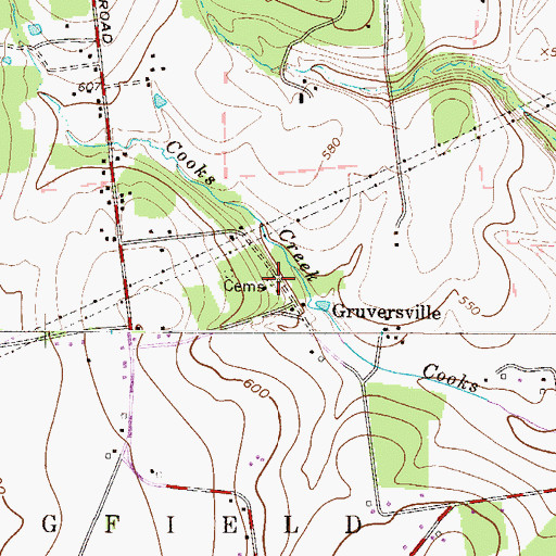 Topographic Map of Gruversville Cemetery, PA