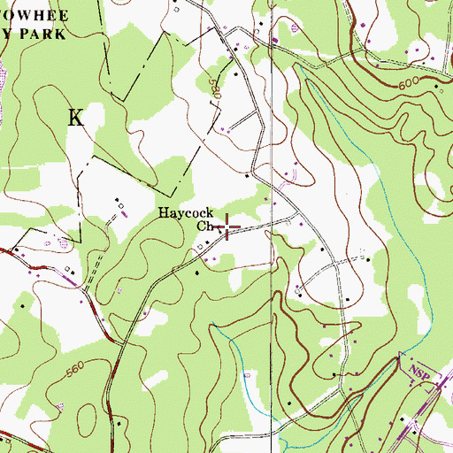 Topographic Map of Haycock Mennonite Cemetery, PA