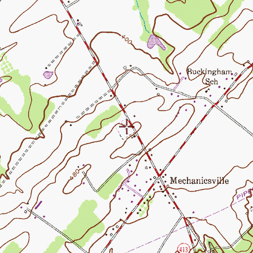 Topographic Map of Mechanicsville Cemetery, PA