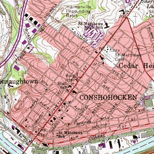 Topographic Map of Conshohocken Police Department, PA