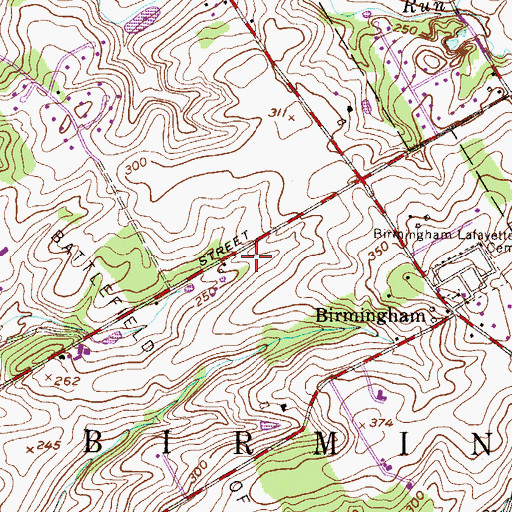 Topographic Map of Birmingham Township Police Department, PA