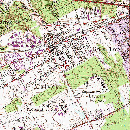 Topographic Map of Malvern Police Department, PA