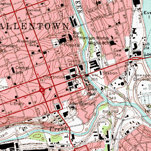 Topographic Map of Allentown Police Department, PA