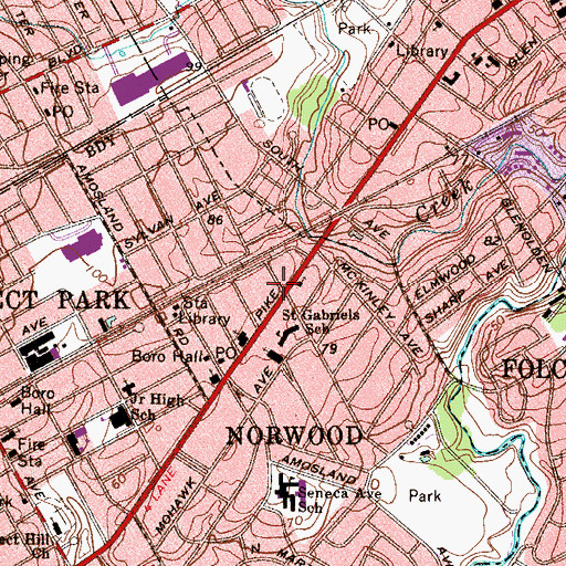Topographic Map of Norwood Borough Police Department, PA