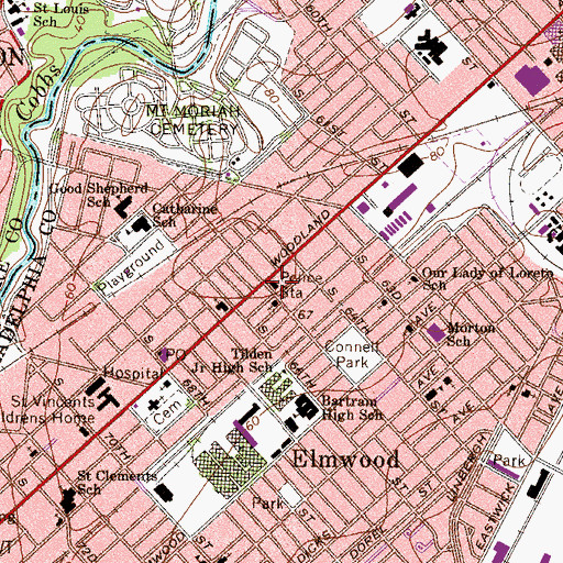 Topographic Map of Philadelphia Police Department - 12th District, PA
