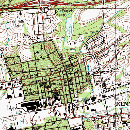 Topographic Map of Kennett Square Police Department, PA
