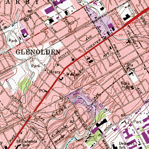 Topographic Map of Glenolden Police Department, PA