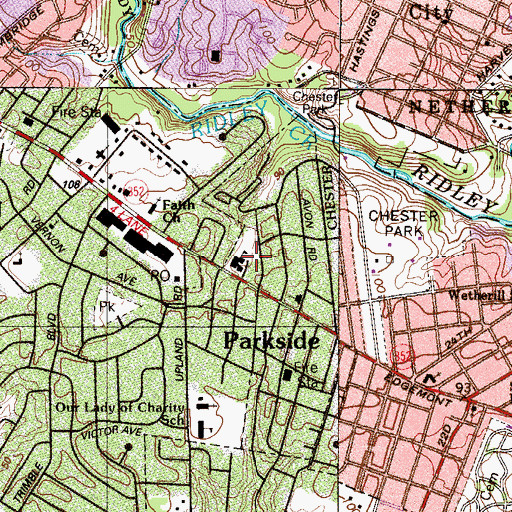 Topographic Map of Parkside Police Department, PA