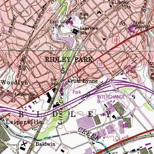 Topographic Map of Ridley Park Police Department, PA