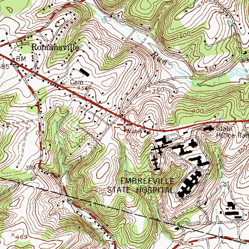 Topographic Map of Pennsylvania State Police Troop J Embreeville Station, PA