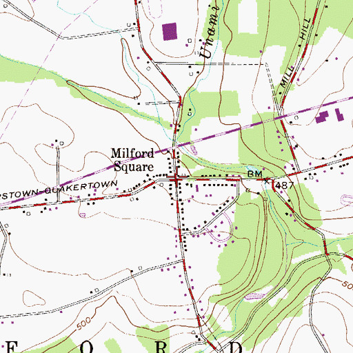 Topographic Map of Milford Square Post Office, PA