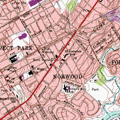 Topographic Map of Norwood Post Office, PA