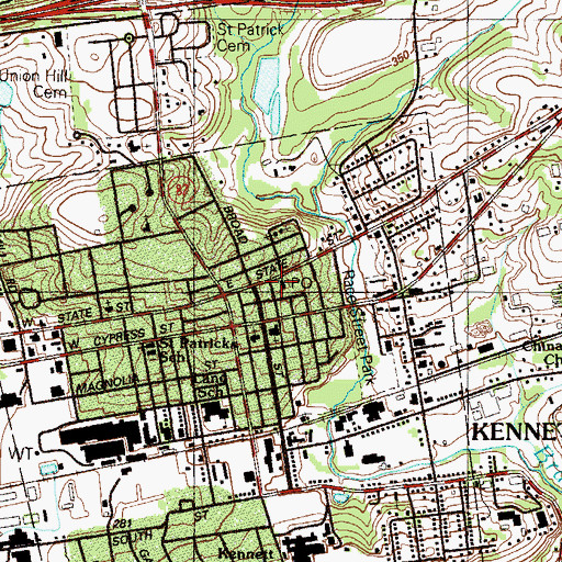 Topographic Map of Kennett Square Post Office, PA