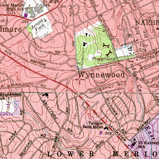Topographic Map of Wynnewood Post Office, PA